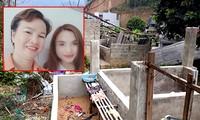 Bà Hiền cùng con gái tại hiện trường nơi phát hiện thi thể nạn nhân
