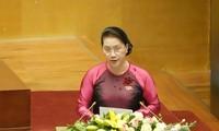 Chủ tịch Quốc hội phát biểu khai mạc kỳ họp thứ 8, Quốc hội khóa 14. Ảnh Như Ý