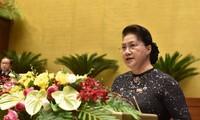 Chủ tịch Quốc hội Nguyễn Thị Kim Ngân phát biểu khai mạc kỳ họp. Ảnh Như Ý