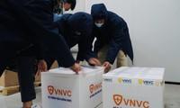 Vắc xin phòng COVID-19 được đóng vào thùng xốp ở nhiệt độ 2 đến 8 độ C trước khi đưa tới điểm tiêm- ảnh L.N