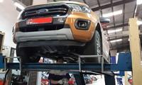 Chiếc xe Ford Ranger Biturbo của anh T. tại khu vực bảo dưỡng.