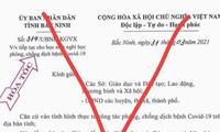 Văn bản giả mạo UBND tỉnh Bắc Ninh lan truyền trên mạng xã hội