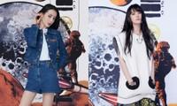 Lưu Diệc Phi và Địch Lệ Nhiệt Ba cùng lên đồ quảng bá show thời trang, nhưng đều bị chê