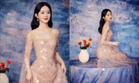 """Triệu Lệ Dĩnh đẹp như """"tiên nữ giáng trần"""" với loạt ảnh mặc váy lấp lánh đêm Trung Thu"""