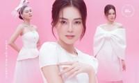 Với 2 tông màu trắng hồng, Lan Ngọc xinh đẹp dịu dàng trong các thiết kế kiểu dáng mới lạ