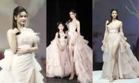 Trương Quỳnh Anh diện đầm hồng công chúa ngọt ngào, làm vedette trong show thời trang