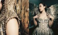 Cận cảnh vẻ đẹp bộ váy nặng 40kg khiến Hoa hậu Mỹ Linh lo sợ sẽ bị ngã trên sàn catwalk