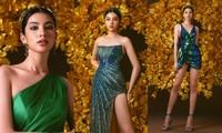 Cẩm Đan đẹp sắc sảo, khoe chân dài miên man trong trang phục dạ hội xanh ngọc lục bảo