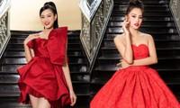 Hoa hậu Đỗ Thị Hà, Tiểu Vy khoe vai trần trong show thời trang với dress code đỏ rực