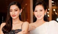 Hoa hậu Đỗ Thị Hà và Lương Thùy Linh chọn váy màu sắc đối lập, khoe khéo body cực phẩm
