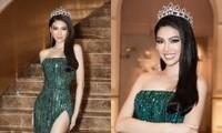 """Á hậu Ngọc Thảo catwalk """"lốc xoáy"""" ấn tượng trong họp báo công bố tham dự Miss Grand International"""