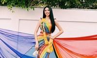 Mặc thiết kế với thông điệp ủng hộ LGBT+, Á hậu Ngọc Thảo nổi bật trước bạn bè quốc tế