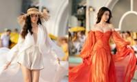 Lương Thùy Linh mở màn khoe chân dài 1m22, Đỗ Mỹ Linh kết show với bộ váy gam màu của lửa