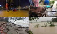 Cảnh tượng xót xa: Nhiều nơi tại Nghệ An ngập sâu trong nước lũ, khu vực biển bị sập bờ kè
