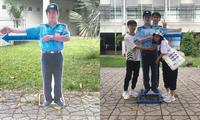 Bác bảo vệ siêu có tâm: Dựng standee chân dung của mình để chỉ dẫn sinh viên hướng để xe