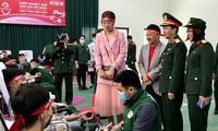 Đại diện lãnh đạo Học viện, Bệnh viện 108, báo Tiền Phong... thăm, động viên cán bộ, chiến sỹ hiến máu