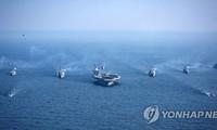 Cuộc tập trận chung trên biển của liên quân Mỹ - Hàn Quốc hồi tháng 3/2017. Ảnh: Yonhap