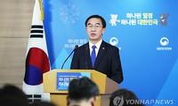 Bộ trưởng Thống nhất Hàn Quốc – ông Cho Myoung Gyon phát biểu trong cuộc họp báo ngày 2/1. Ảnh: Yonhap