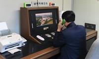 Một quan chức Hàn Quốc kiểm tra đường dây nóng để nói chuyện với phía Triều Tiên tại làng Bàn Môn Điếm ở Paju (Hàn Quốc) hôm qua, 3/1. Ảnh: AP