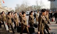 Nhóm nhạc Moranbong của Triều Tiên đến Bắc Kinh (Trung Quốc) lưu diễn hồi năm 2015. Ảnh: Getty