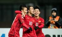 Các cầu thủ U23 Việt Nam ăn mừng trong trận đấu với U23 Iraq. Ảnh: AFC
