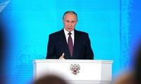 Tổng thống Nga Vladimir Putin công bố Thông điệp Liên bang. Ảnh: Sputnik