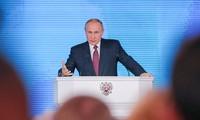 Tổng thống Nga Vladimir Putin công bố Thông điệp Liên bang hôm qua, 1/3. Ảnh: Tass