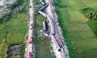 Hiện trường tai nạn tàu hỏa SE19 ở Thanh Hóa