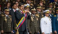 Tổng thống Maduro phát biểu trước khi bị tấn công. Ảnh: EPA