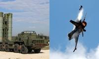 Hệ thống S-400 của Nga (trái) và máy bay F-16 của Mỹ (phải). Ảnh: AFP/Reuters