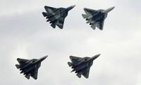 Dàn Su-57 trình diễn ngày 27/8. Ảnh: Sputnik