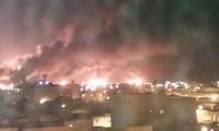 Vụ cháy ở Abqaiq. Ảnh: Twitter