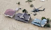 Ngập lụt trên diện rộng ở Nhật Bản do bão Hagibis. Ảnh: AP