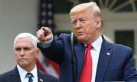 Ông Trump tuyên bố nỗ lực chống dịch của chính quyền Mỹ xứng đáng điểm 10. Ảnh: AP