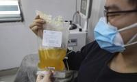 Huyết tương được hiến bởi bệnh nhân Covid-19 ở Trung Quốc. Ảnh: AP