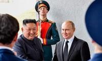 Chủ tịch Triều Tiên Kim Jong-un và Tổng thống Nga Vladimir Putin. Ảnh: ED News