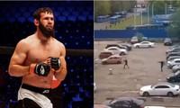 Dzhumbulat Baliev (trái) và hiện trường vụ đấu súng (phải).