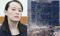 Bà Kim Yo-jong (trái) và cảnh Văn phòng Liên lạc chung bị phá huỷ (phải).