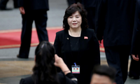 Bà Choe Son Hui tháp tùng Chủ tịch Kim Jong-un trong chuyến thăm chính thức Việt Nam tháng 3/2019. Ảnh: Reuters
