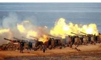 Triều Tiên tập trận bắn đạn thật. Ảnh: Yonhap