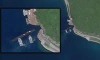 Cảnh tàu ngầm tiến vào đường hầm ở đảo Hải Nam. Ảnh: Planet Labs