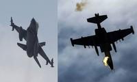 F-16 Thổ Nhĩ Kỳ (trái) và Su-25 Armenia (phải). Ảnh: RT
