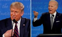 Hai ứng viên Tổng thống 2020 trong cuộc tranh luận vòng 1 ngày 29/9. Ảnh: Reuters