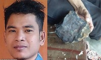 Josua Hutagalung (ảnh trái) và hòn thiên thạch (ảnh phải).