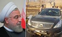Ảnh trái: Tổng thống Iran Hassan Rouhani. Ảnh phải: Chiếc xe của ông Fakhrizadeh sau vụ tấn công. Ảnh: Reuters