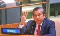 Đại sứ Myanmar trong phiên họp ngày 26/2 tại LHQ. Ảnh: Twitter