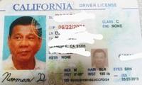 Tấm bằng lái xe giả có ảnh của Tổng thống Philippines.