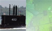 Tàu ngầm KRI Nanggala-402 (trái) và xác tàu ngầm dưới biển (phải). Ảnh: Reuters
