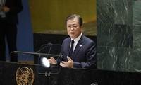 Tổng thống Moon Jae-in phát biểu hôm 21/9 trước Đại hội đồng Liên Hợp Quốc. Ảnh: Yonhap