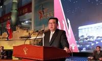 Chủ tịch Triều Tiên Kim Jong-un phát biểu tại triển lãm ngày 11/10. Ảnh: Yonhap